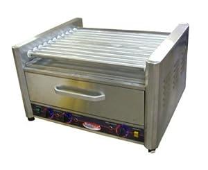 BakeMax BMHBW11 20 Hot Dog Roller Grill w/Bun Storage - Flat Top, 110v, Each