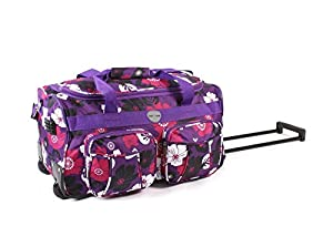 "Cabin Approved Suitcase Luggage Travel TROLLEY Bag. Womens Mens & Girls, Design Twin Handle 20"" approx (H32cm X W50cm X D27cm) wheeled, PURPLE WITH BLACK AND PINK FLOWERS, 20"" Twin Handle Wheeled Holdall Weekend Bag, Maternity Bag, Hospital Bag, Baby Bag"