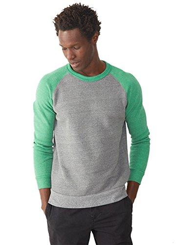 Alternative - The Champ Unisex Colorblocked Eco Fleece Crewneck Sweatshirt - 32022 - Eco Grey/ Eco True Green - Large