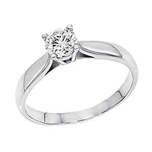 IGI Certified 14k white-gold Round Cut Diamond Engagement Ring (0.40 cttw, G Color, SI3 Clarity) - size 6