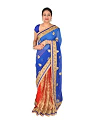 Ctc Mall Blue & Red Faux Georgette And Net Saree