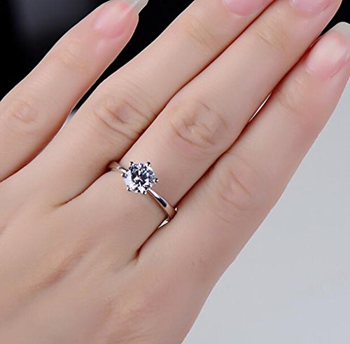 Maikun 18k White Gold Plated Classic 6 Prong Sparkling Solitaire Cubic Zircon Engagement Ring 7 new