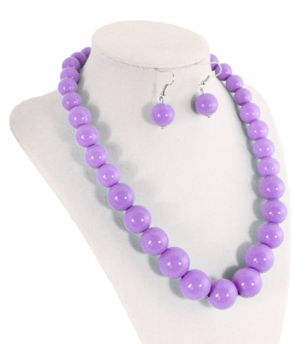 Lilac Purple Acrylic Bubble Bead Necklace & Matching Earrings Set - Hey Viv !