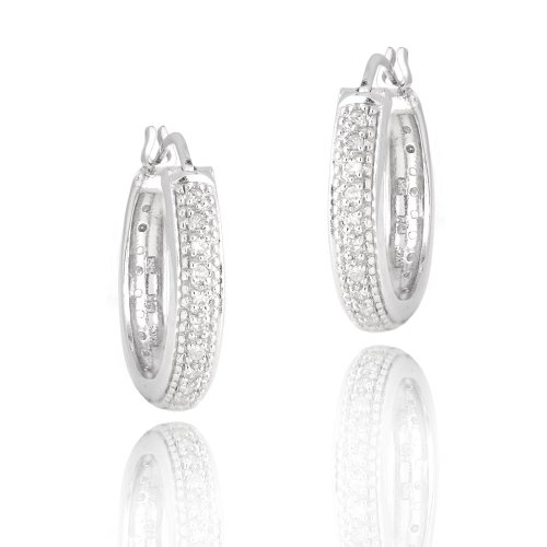Sterling Silver 1/5ct Diamonds 20mm Round Hoop Earrings