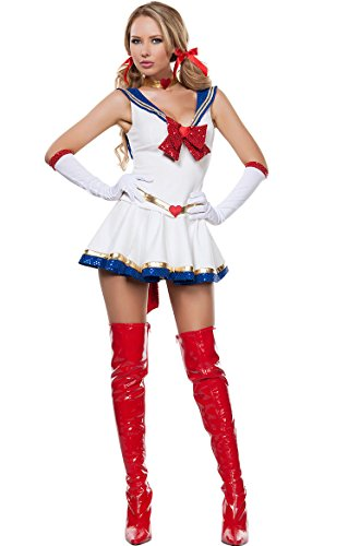 HPLY Women's Sailor Moon Anime Costume Cosplay Sexy Pretty Cute Bow Princess Dress (Plus Size Sailor Moon Costume)