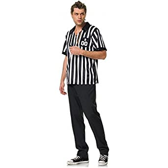 Leg Ave Men's 2 Piece Ref Costume, Black/White, Medium/Large
