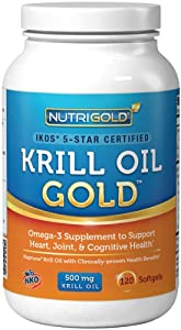 #1 Krill Oil Omega-3 Supplement - Krill GOLD, 500mg, 120 Softgels - IKOS 5-Star Certified, Multi-Patented, GMO-free, Hexane-free, Cold-Pressed NKO Neptune Krill Oil with Astaxanthin
