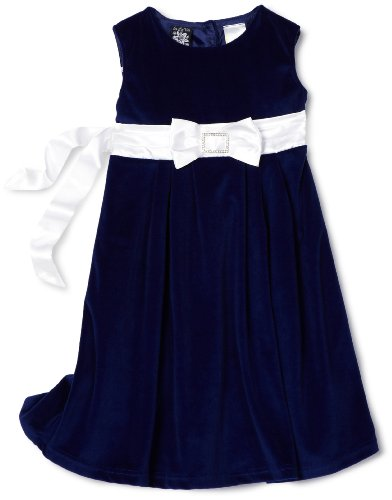 Little Girls Boutique Blue Rhinestone Bow Christmas Holiday Dress 6X