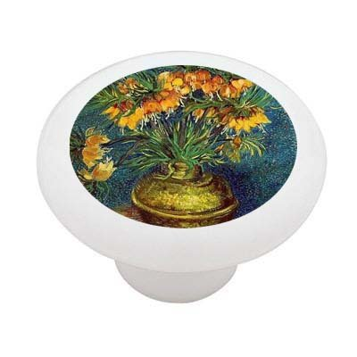 Lillies In Copper Vase By Van Gogh Decorative High Gloss Ceramic Drawer Knob front-948521
