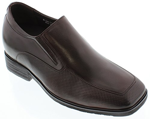 Calto - G01021 - 3 Inches Taller - Size 7.5 D Us - Height Increasing Elevator Shoes (Dark Brown Leather Slip-On Dress Shoes)
