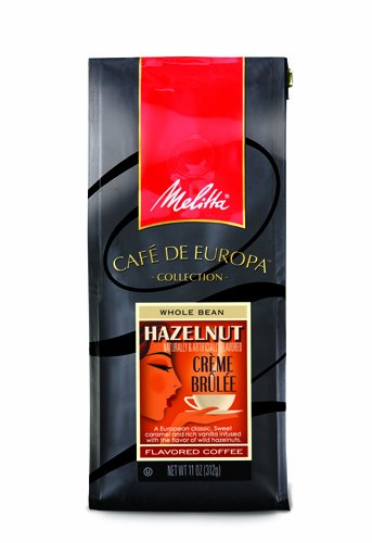 Melitta Cafe de Europa Gourmet Coffee, Hazelnut Creme Brulee Whole Bean, Flavored, 9 Ounce (Pack of 3)