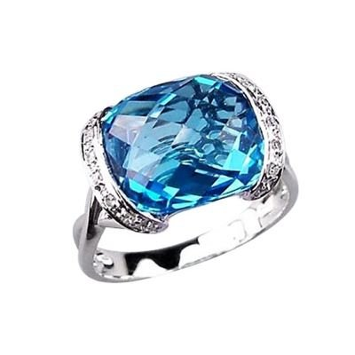 14k White Gold Cushion Cut Blue Topaz and Diamond Ring Size 6.5