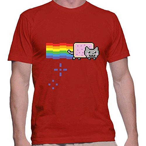 GullPrint Men's Nyan Cat Rainbow Funny Tee Shirt Small Red