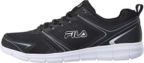 Fila Men's Windstar 2 Running Shoe, Black/Black/Metallic Silver, 11.5 M US