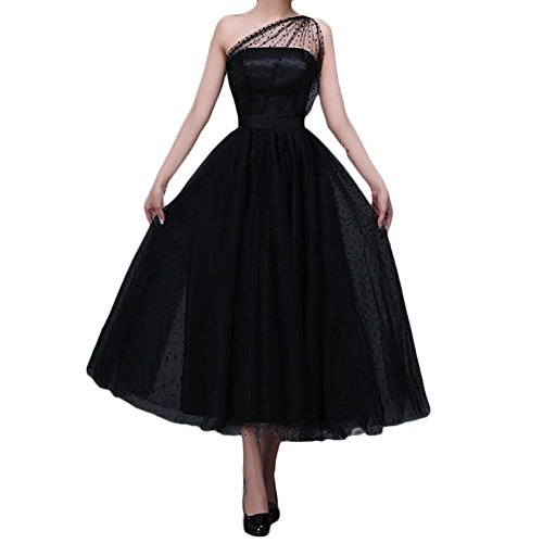 Favors Women's Vintage 50s Tea Length Cockatil One Shoulder Party Dresses WP07