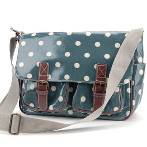 SAGE Green Designer Oilcloth Polka dots Cross Body Saddle Bag Satchel Shoulder Messenger
