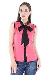 Bonheur Women's Bow Neck Pink Shirt (BH-021-Pink-M_Pink_Medium)