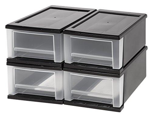 IRIS 7 Quart Stacking Drawer, 4 Pack, Black (Modular Closet Drawers compare prices)