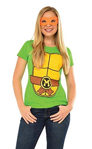[Rubie's Costume Teenage Mutant Ninja Turtles Top With Mask and Michelangelo, Green, Medium] (Adult Ninja Turtle Halloween Costumes)