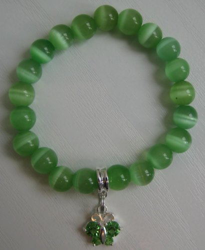 Child's Hand-Made Cat's Eye Semi Precious Stone Bracelet in GREEN plus Crystal Butterfly Charm - Elasticated