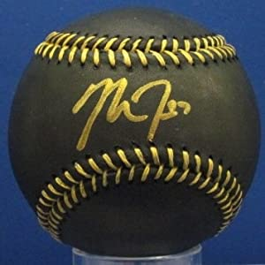 Mike Trout of the Anaheim Angels Signed OML Official MLB Black Baseball Gold Ink MLB... by LTD+Sports