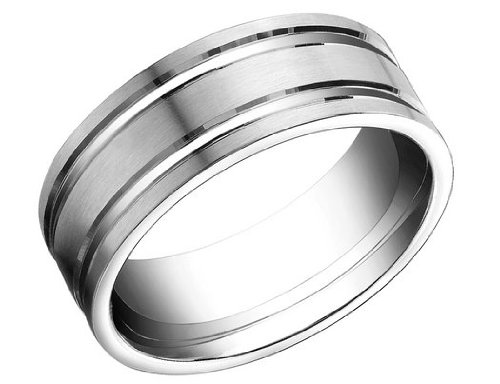 Benchmark Mens 8mm Satin Comfort Fit Wedding Band in 14K White Gold (Lifetime Guarantee), Size 14
