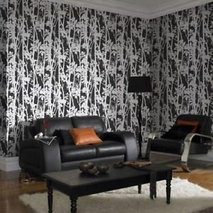 Fresco Fabric Branches Wallpaper - Black by New A-Brend
