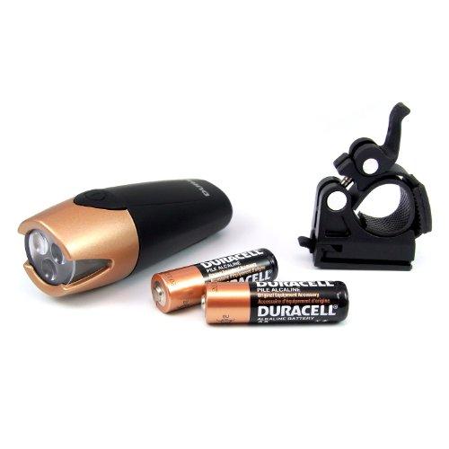 Duracell BIK-F01WDU - Linterna (Bicicleta, Negro, LED, AA, 41h)