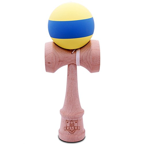 Kendama Rubberized Yellow & Blue Matte And Extra String - 1