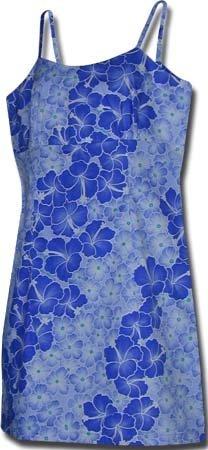 Misses Sugarsweet Hawaiian Sun Dress, Small, Blue