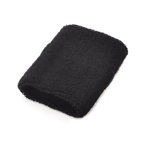 A Pair Of Bobo Sportline Wrist Band, Terry Cloth Wristband, Wrist Sweat Band, Sports Sweatband, Black