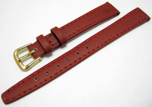 Red Leather Watch Strap Band With A Stitched Edging And Nubuck Lining 12mm