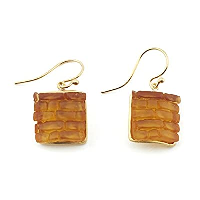 Amber Cobblestone Glass Earrings by Michael Vincent Michaud