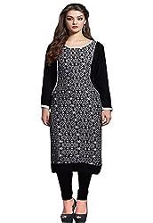 JCM Krishriyaa Cotton Cambric Black Straight Kurti With XL Size