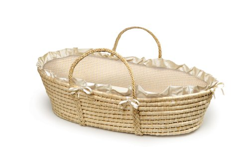 Learn More About Badger Basket Company Natural Baby Moses Basket - Ecru/Beige Gingham Bedding