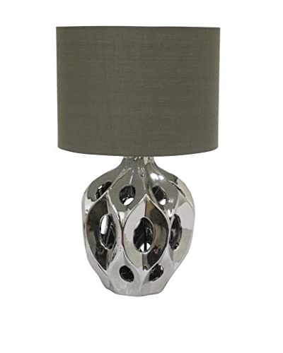 Three Hands Ceramic 1-Light Table Lamp, Silver/Grey As You See