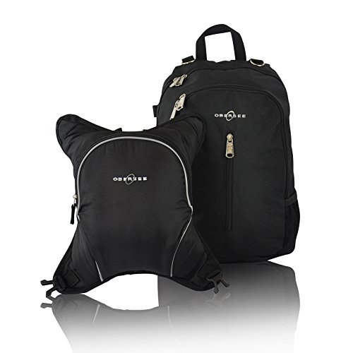Obersee Rio Diaper Bag Backpack With Detachable Cooler, Black/Black front-1054217