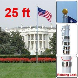 "25 "" Us New Flag Top Kit Fly 2 Flags Usa Telescopic Aluminum Flagpole 3"" X 5 """