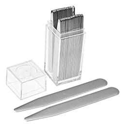 JOVIVI 36pc Stainless Steel Collar Stays in Clear Plastic Box For Mens Dress Shirt, Order the Sizes You Need (3\