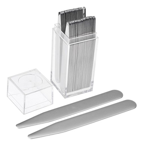 JOVIVI 36pc Stainless Steel Collar Stays in Clear Plastic Box For Mens Dress Shirt, Order the Sizes You Need (3