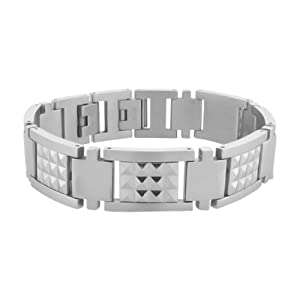 Inox Jewelry Polished Silver Steel Studded with Pyramid Design Bracelet For Men available at Amazon for Rs.3210