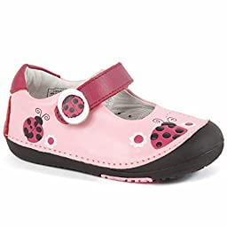 Momo Baby Girls First Walker/Toddler Ladybugs Pink Mary Jane Leather Shoes - 8.5 M US Toddler