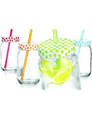 Set of Four (4) 15-oz Colorful Polka Dots Mason Jar Beverage Cups ~ 4 Clear Glass Drink Cups with Metal Lid, Straw... by GF Smart