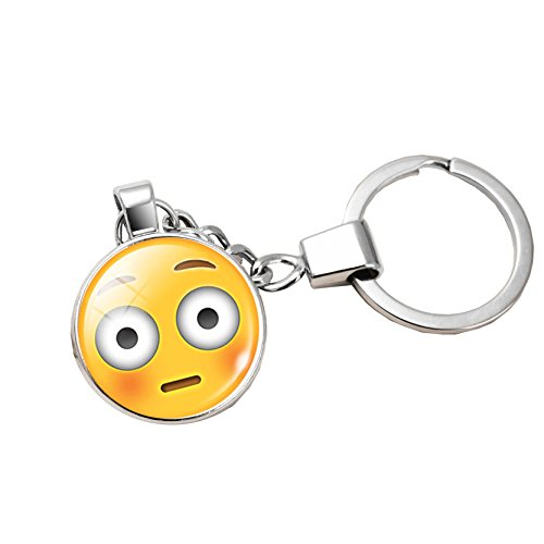 Portachiavi Emoji Emoticon Sorpreso anello in acciaio inossidabile Faccia Faccina Smiley Smile Sorpresa Perplesso Imbarazzato Idea Regalo Divertente Retrò Vintage