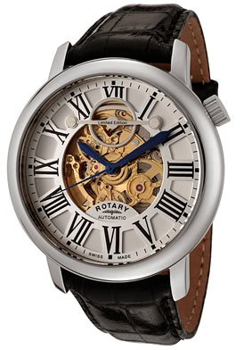 Men's Swiss Made Skeleton Automatic Gold and See Thru Skeleton Dial Black Leather