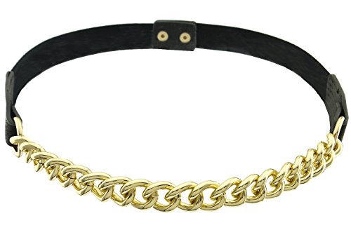 BlingKicks Womens Chunky Gold Chain Stretch Skinny Belt One Size Gold Black