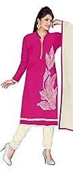 KNC Women's Georgette Unstitched Dress Material Three Piece Salwar Kamiz_Pink