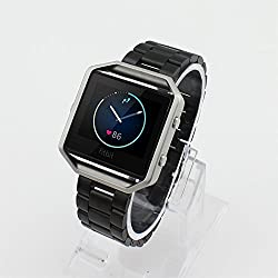 Fitbit Blaze Replacement Band, DAYJOY Premium Stainless Steel Watch Strap Adjustbable Bracelet Band for Fitbit Blaze(BLACK,Large Size)