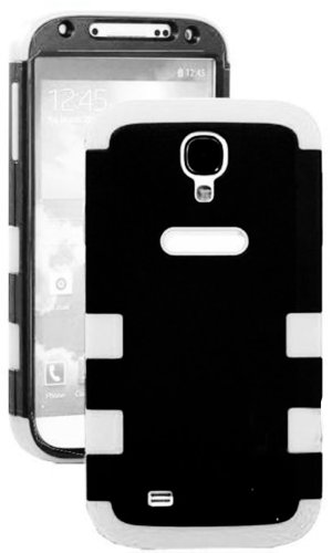 """Mylife (Tm) Black And White - Flat Color Design (3 Piece Hybrid) Hard And Soft Case For The Samsung Galaxy S4 """"Fits Models: I9500, I9505, Sph-L720, Galaxy S Iv, Sgh-I337, Sch-I545, Sgh-M919, Sch-R970 And Galaxy S4 Lte-A Touch Phone"""" (Fitted Front And Back"""
