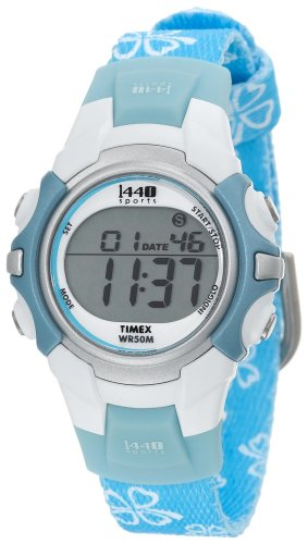 Timex Youth 1440 Light Blue Floral Strap Watch - T5G8914E